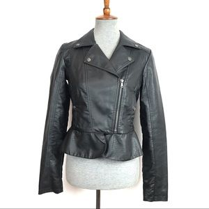 Faux Leather Motorcycle Jacket Womens Size Small